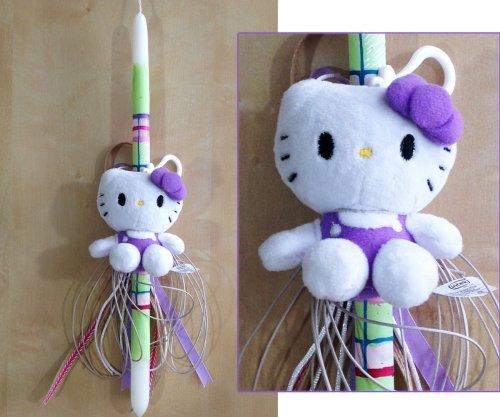 Λαμπάδα με Λιλά Hallo Kitty 317