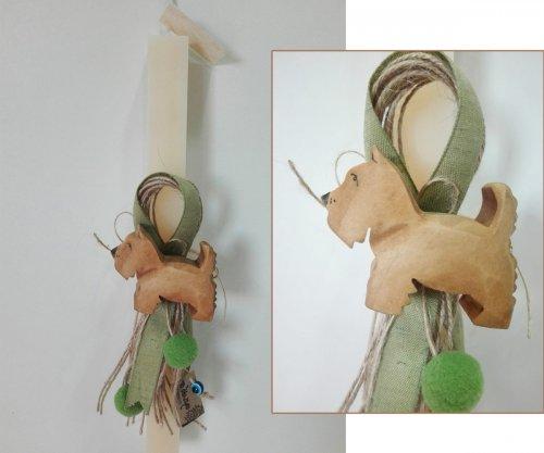 Οικολογική Λαμπάδα Ξύλινο μικρό Σκυλάκι 005